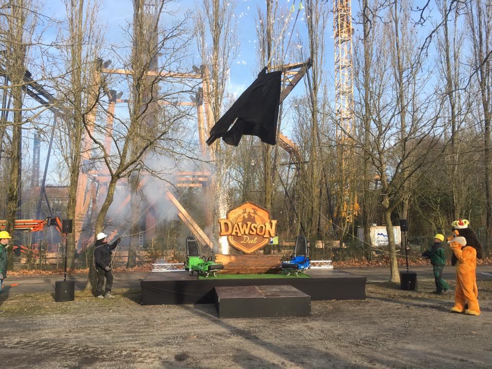 Onthulling van de naam van de nieuwe attractie Dawson Duel in Bellewaerde